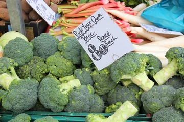 Broccoli at a market in Birmingham, UK