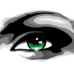 Woman's Green Eye-Occhio Verde di Donna-Vector