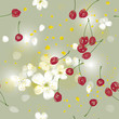 Sweet Cherry tree / Seamless romantic wallpaper