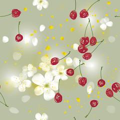 Sweet Cherry tree / Seamless romantic wallpaper