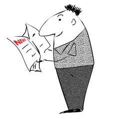 Kartoon Mann mit Zeitung