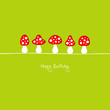 "Fly Agarics ""Happy Birthday"" Red/Green"