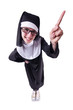 Funny nun isolated on the white background