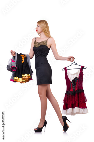 Woman with clothing on hangers