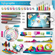 Vector design set of infographic elements and world map.