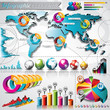Vector set world map and information graphics element