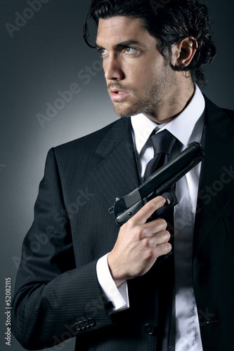 Portrait of an attractive secret agent
