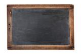Blank vintage chalkboard isolated on white