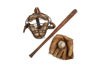 Vintage baseball,bat,glove and catchers mask