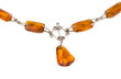 amber stone blurred necklace isolated on white