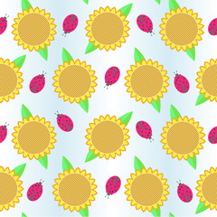 background with sunflowers and ladybird
