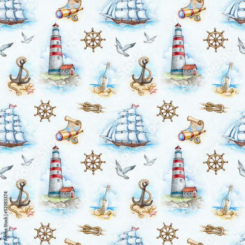 Foto op Plexiglas Kunstmatig Nautical watercolor seamless pattern