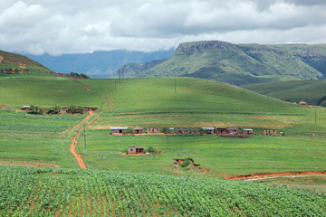 Rural settlement, Drakensberg mountains, KwaZulu-Natal