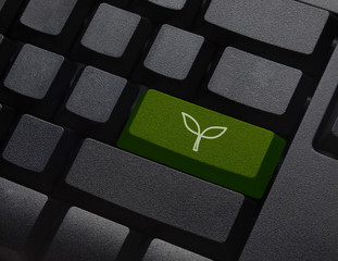Green energy key with leaf icon on laptop keyboard