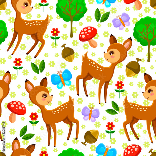 seamless pattern with baby deer