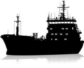 Silhouette of the sea cargo ship