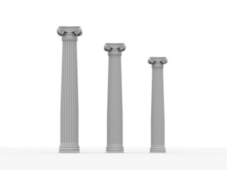 Three historical column isolated