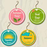 Fototapety Set of 4 retro summer tags.