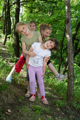 Group of little girls have a nice time together