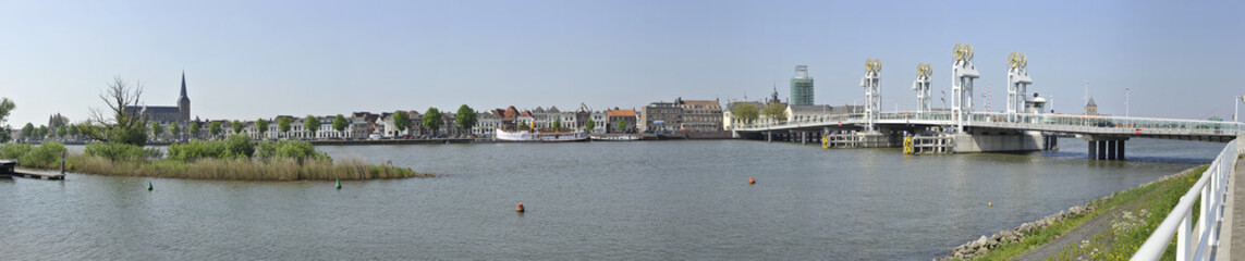 Panoramic view of the city Kampen, the Netherlands