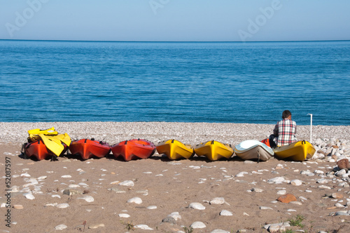 Canoes at Cirali beach, Turkish Riviera
