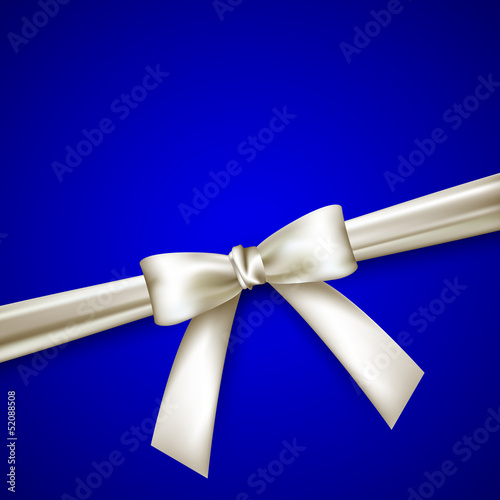 blue background with white bow
