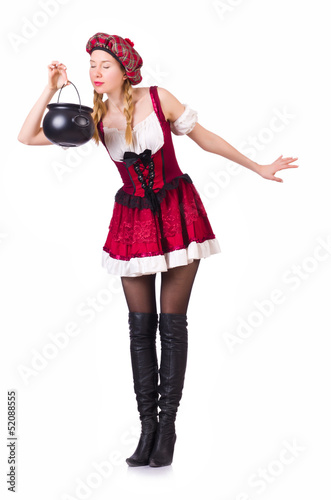 German girl in traditional festival clothing