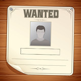 Wanted Poster on Wooden Wall Template