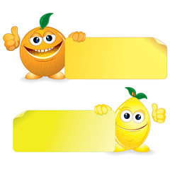 Orange and Lemon. Funny Fruits with Blank Sign