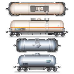 Isolated Railroad Oil Tanks. Illustration
