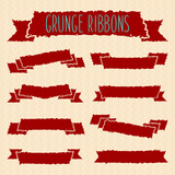 Grunge ribbons set. Vector Eps 8 illustration