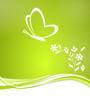 Grüne Karte mit Schmetterling Herzform