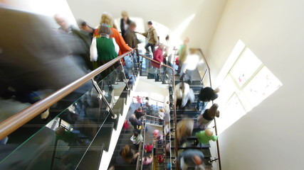 HD - Flow of people on the stairs