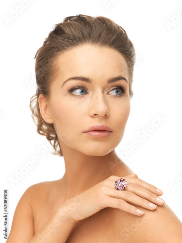 woman with one cocktail ring