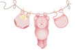 Teddy bear baby girl hanging on a clothesline