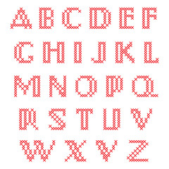 Cross Stitch Alphabet, Lower Case Letters