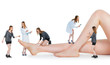 Small people examining  female legs on white background