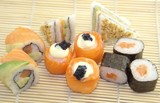 Assortment rolls with salmon