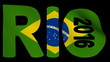 Rio text with rippling Brazilian flag animation