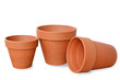 Clay flower pots isolated on white background