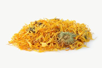 Calendula flower tea isolated on the white background