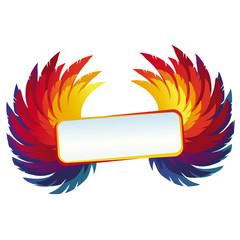 Vector wings with bright frame - rainbow template