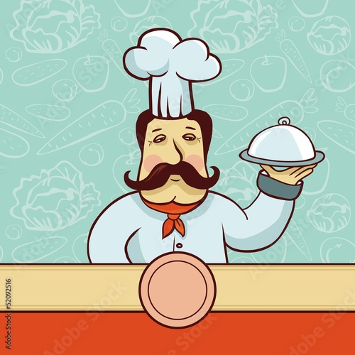Vector cartoon character - chef cook with plate
