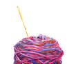 yarn ball with crochet on white background