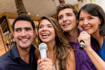 People karaoke singing