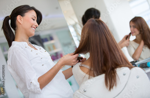 Woman at the hair salon
