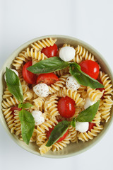 Pasta salad on white background