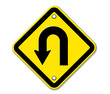 U-Turn Roadsign - Yellow road sign