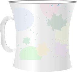 close up of empty used coffee cups and blots on white background