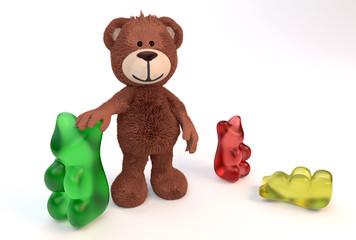 Teddybär mit Gummibärchen
